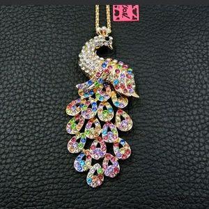 New Betesy Johnson Multi color peacock necklace